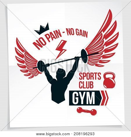 Power lifting competition poster created with vector illustration of muscular bodybuilder holding barbell sport equipment. No pain no gain quote.