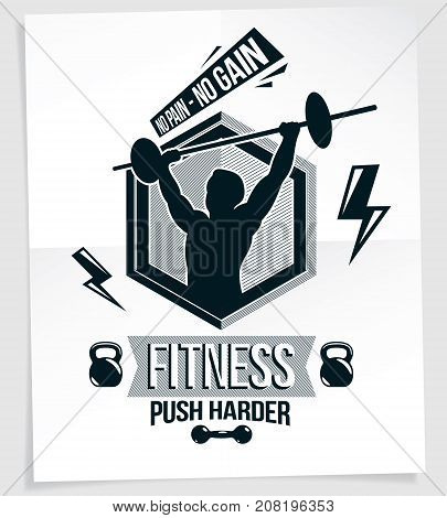 Gym advertising leaflet created with vector illustration of muscular bodybuilder holding barbell sport equipment. No pain no gain quote.