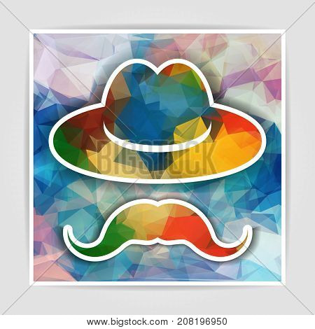 Hat with mustache on a multicolored abstract geometrical background
