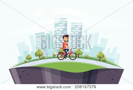 Man On Electric Bicycle On The Street With City Skyline Background On Globe