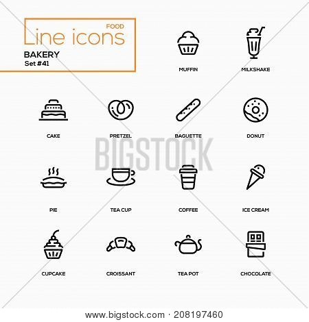 Bakery concept - line design icons set. Everything about tasty pastry, dessert. Muffin, milkshake, cake, pretzel, baguette, donut, pie, tea cup, coffee, ice cream, cupcake, croissant, pot, chocolate