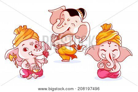 Set of cute characters. A little baby Ganesha with different emotions. Vector cartoon illustration on a white background.