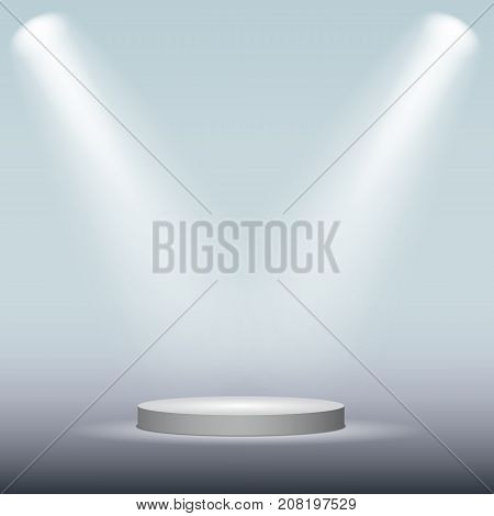 White cylinder podium under light on blue background. Vector illustration