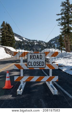 Road Closed Due to Late Season Snow Drifts in National Park