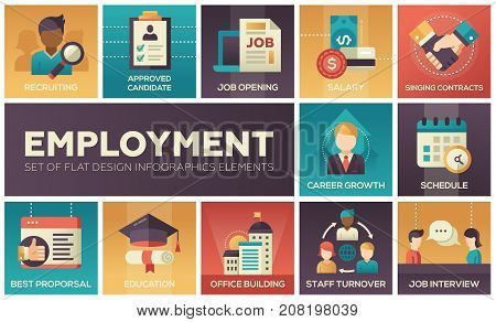 Employment - set of flat design infographics elements. Recruiting, approved candidate, salary, singing contracts, career growth, schedule, best proposal, education, office building, staff turnover