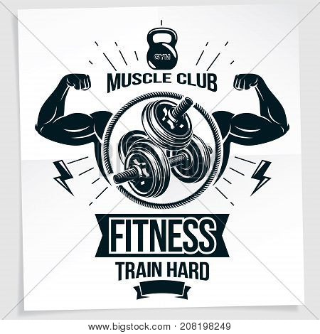 Heavy load power lifting championship advertising poster. Vector composition of muscular athlete arm with disc weight dumbbell and kettle bell sport equipment. Train hard quote.