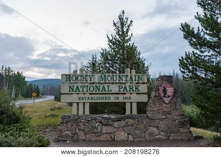 Estes Park Colorado United States: August 9 2017: Rocky Mountain National Park Entry Sign