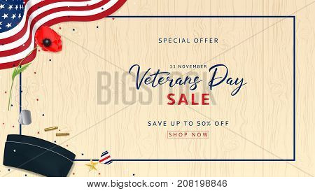 Web Banner for Veterans Day Sale. Top View on Sleeves, Medal, Soldier Tag and Cap on wooden texture. Holiday Backdrop with USA Flag and Red Poppy. Vector Illustration with Confetti.