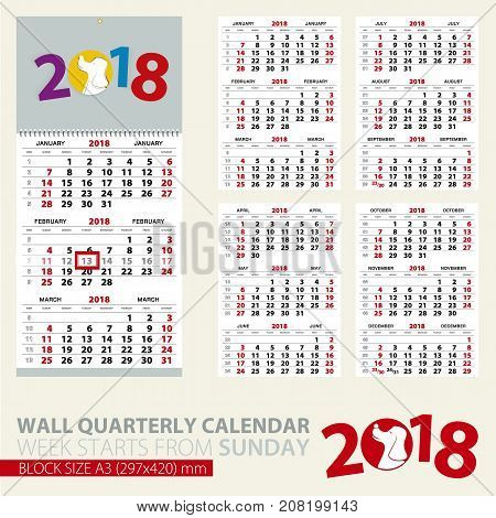 Print template of wall quarterly calendar for 2018 year. Year of the Dog. Block size A3. Week starts from Sunday.