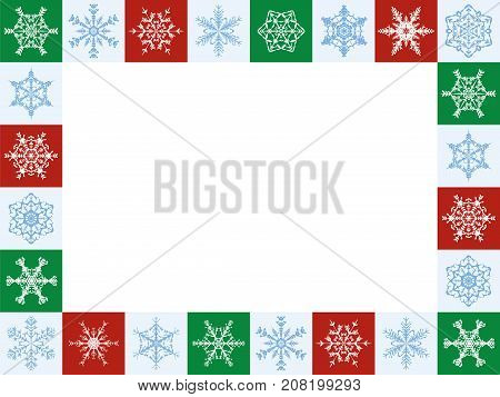 Snowflakes christmas frame, horizontal format - twenty-four artful red, green and white tiles - vector illustration with white blank center to be labeled.