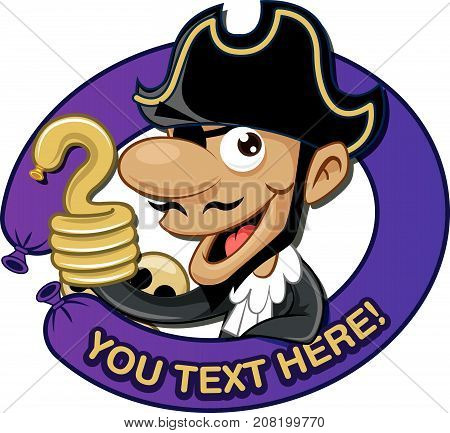Cute pirate mascot with hook arm, purple round balloon