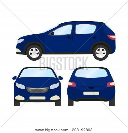 Car vector template on white background. Business hatchback isolated. blue hatchback flat style. front side back view.
