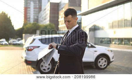 Business People While Working Near Office Building