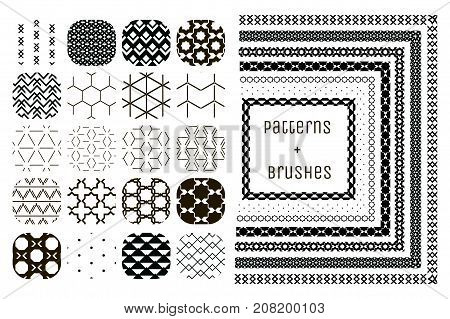 Collection of 20 Black Geometric Seamless Patterns and 7 Flexible, Color, Size and Shape adjustable pattern brushes with outer and inner tiles corners. Vector Illustration. Monochrome Fully Editable Repeating Pattern Backgrounds