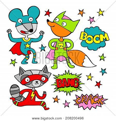 Superheroes. Raccoon, mouse and fox. Cartoon. Isolated vector objects on white background. Set.
