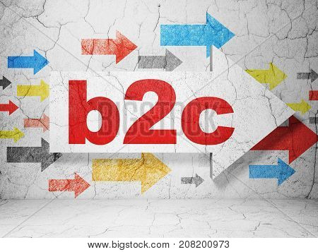 Finance concept:  arrow with B2c on grunge textured concrete wall background, 3D rendering poster