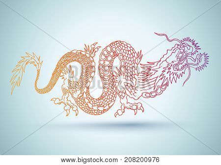Vector illustration of a chinese dragon. Colorful chinese dragon.