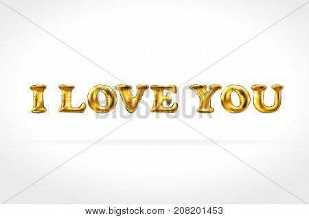 I Love You Gold Balloons. Golden Characters Balloons In The Air. For Celebration, Party, Date, Invit