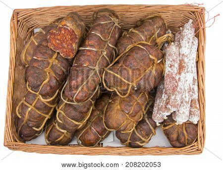 Kulen is famous authentic spicy sausage typical Slavonian dried Meat of the Croatia