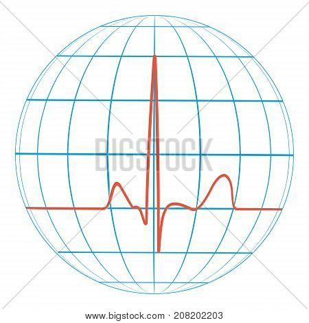 cardio planet earth Heart pulse. Cardiogram. vector Line of the pulse with the planet, concept of ecology and clean nature