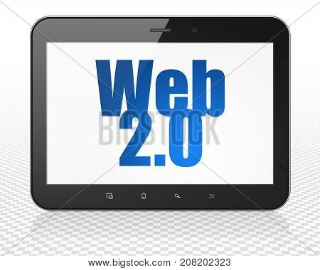 Web design concept: Tablet Pc Computer with blue text Web 2.0 on display, 3D rendering