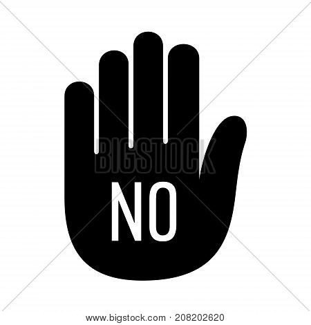 Hand no stop palm open stop up logo icon. Simple illustration of hand open palm with no stop open vector illustration for print or web design.