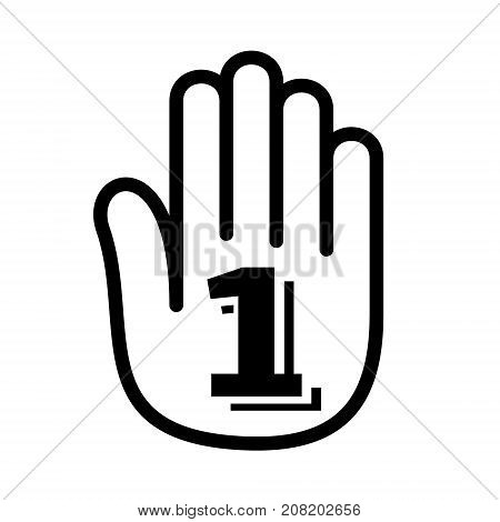 Hand one first number palm open logo icon. Outline illustration of hand open palm with one first number open vector illustration for print or web design.
