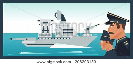 The Destroyer In The Ocean, A Military Boat. Admiral Looks At The Fleet. Vector Illustration. Flat S