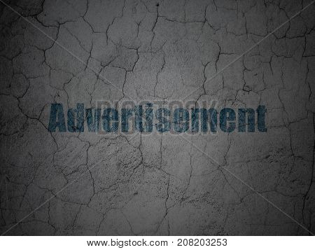 Advertising concept: Blue Advertisement on grunge textured concrete wall background