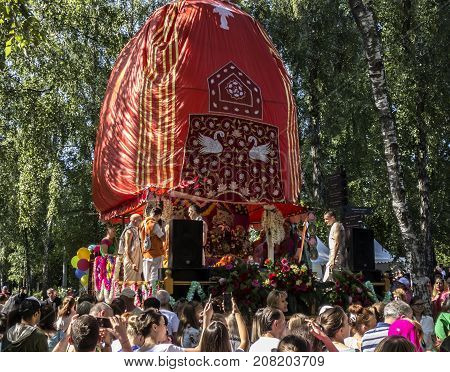 Moscow Russia - August 12 2017: Independence Day of India Celebration. The festival of chariots Ratha Yatra.