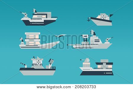 Set Of Various Ships. Navy, Armed Ships. The Destroyer, An Aircraft Carrier, Boat, Boats. Transport