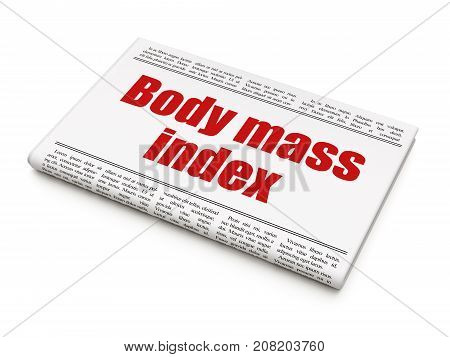 Healthcare concept: newspaper headline Body Mass Index on White background, 3D rendering
