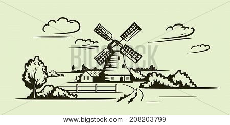 windmill, village houses and farmland. vector illustration on a grey background