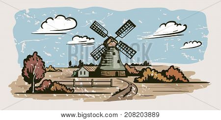 windmill, village houses and farmland. vector color illustration on a grey background