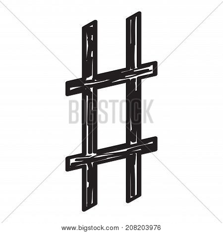 Isolated sketch of a musical note, Sharper key signature, Vector illustration