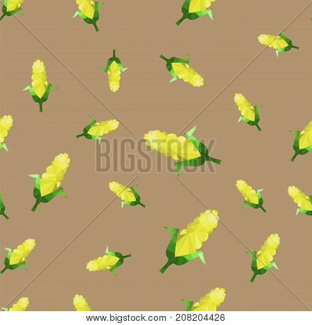 Yellow Corn Seamless Pattern Isolated on Grey Background
