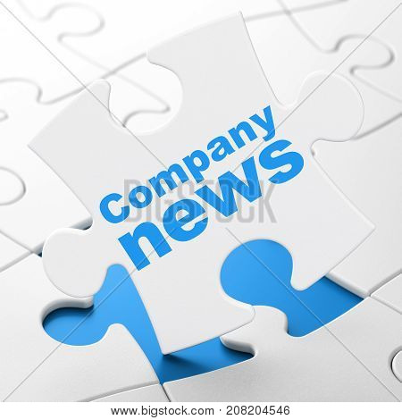 News concept: Company News on White puzzle pieces background, 3D rendering