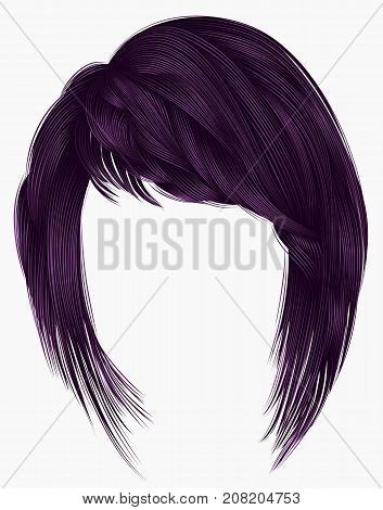 trendy woman hairs kare with fringe . purple colors . medium length . beauty style . realistic 3d . brunette .