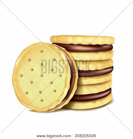 Vector illustration of several sandwich-cookies with chocolate filling, isolated on white background in realistic style.