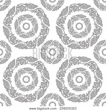 Seamless traditional chinese pattern with floral ornament. Stock vector illustration.