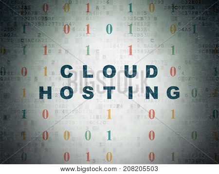 Cloud computing concept: Painted blue text Cloud Hosting on Digital Data Paper background with Binary Code