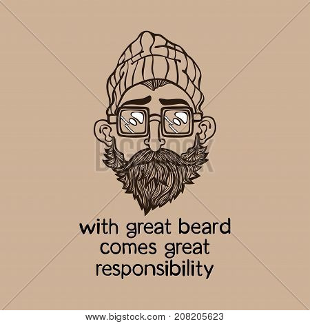 With great beard comes great responsibility. Lettering. Young man with beard. Isolated vector objects.