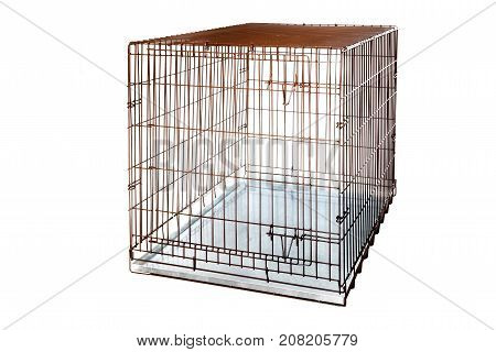 cell. Cage box for dogs on white isolated background