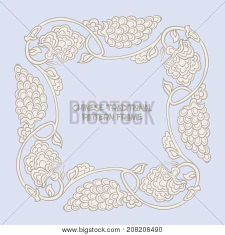 Chinese traditional floral pattern frame  for text in vintage blue color. Stock vector illustration.