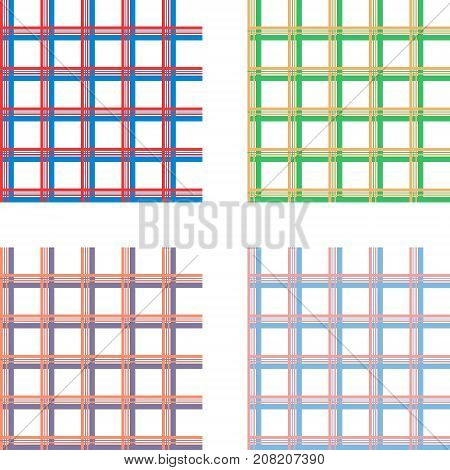 seamless pattern for fabric shirts, vector set of fabric samples for fashion clothes, peach stripes, squares, checkered pattern