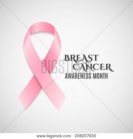 Breast Cancer Awareness pink ribbon. Dark text. Fighting cancer. Vector illustration