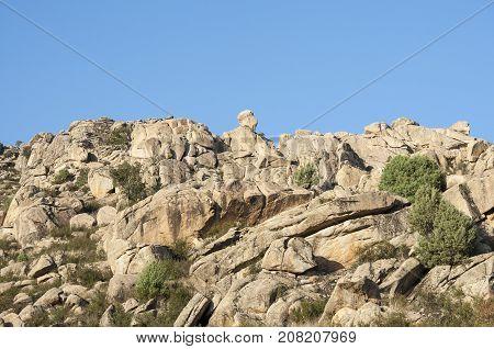 Granite outcrops in Sierra de los Porrones Guadarrama Mountains Madrid Spain.