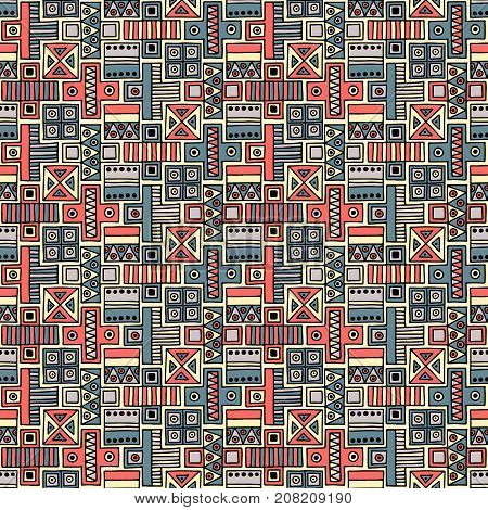 Seamless Vector Pattern. Geometrical Background With Hand Drawn Decorative Tribal Elements Print Wit