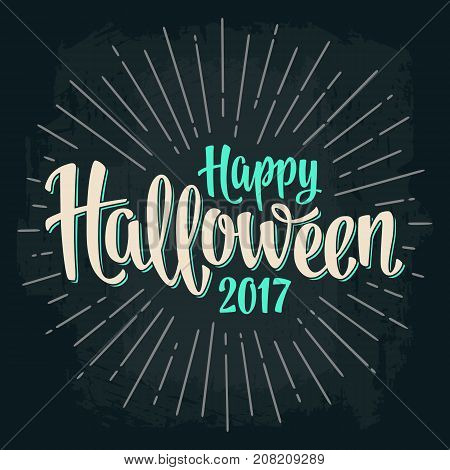 Happy Halloween 2017 calligraphy lettering and ray. Bat flying with scary face. Vector color vintage engraving illustration isolated on dark background