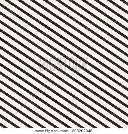 Diagonal stripes pattern. Vector seamless striped texture. Abstract monochrome geometric background with parallel slanted lines, black & beige colors. Repeat design for prints, decor, fabric, wrapping. Lines pattern. Geometric pattern. poster